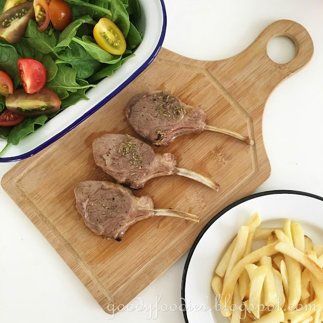 Recipe: Grilled lamb cutlets with fries and baby spinach & tomato salad