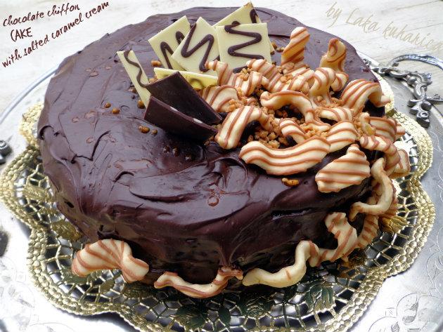 Čokoladna šifon torta sa slanom karamel kremom :: Chocolate chiffon cake with salted caramel cream
