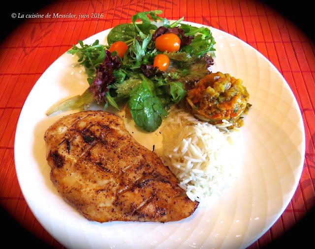 Escalopes de poulet bbq à la marocaine + Zaalouk