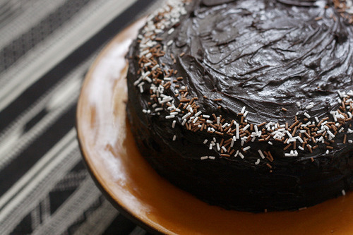 Eggless birthday chocolate cake with fudge frosting