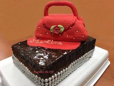 Gâteau sac à main en pâte à sucre : gâteau à la crème de moka et gâteau au chocolat, au thermomix ou sans