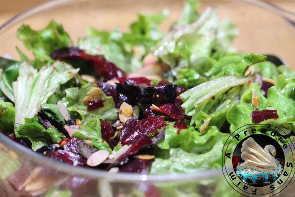 Salade aux amandes grillées caramélisées