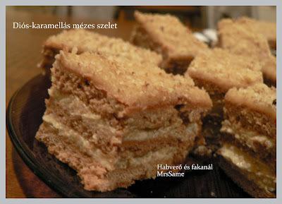 Diós-karamellás mézes szelet