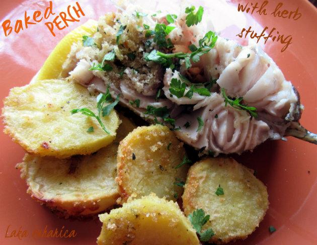 Pečeni smuđ sa začinskim travama :: Baked perch with herb stuffing