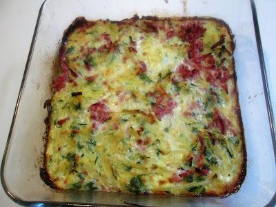 Kartoffel/Squash-Tortilla med Skinke