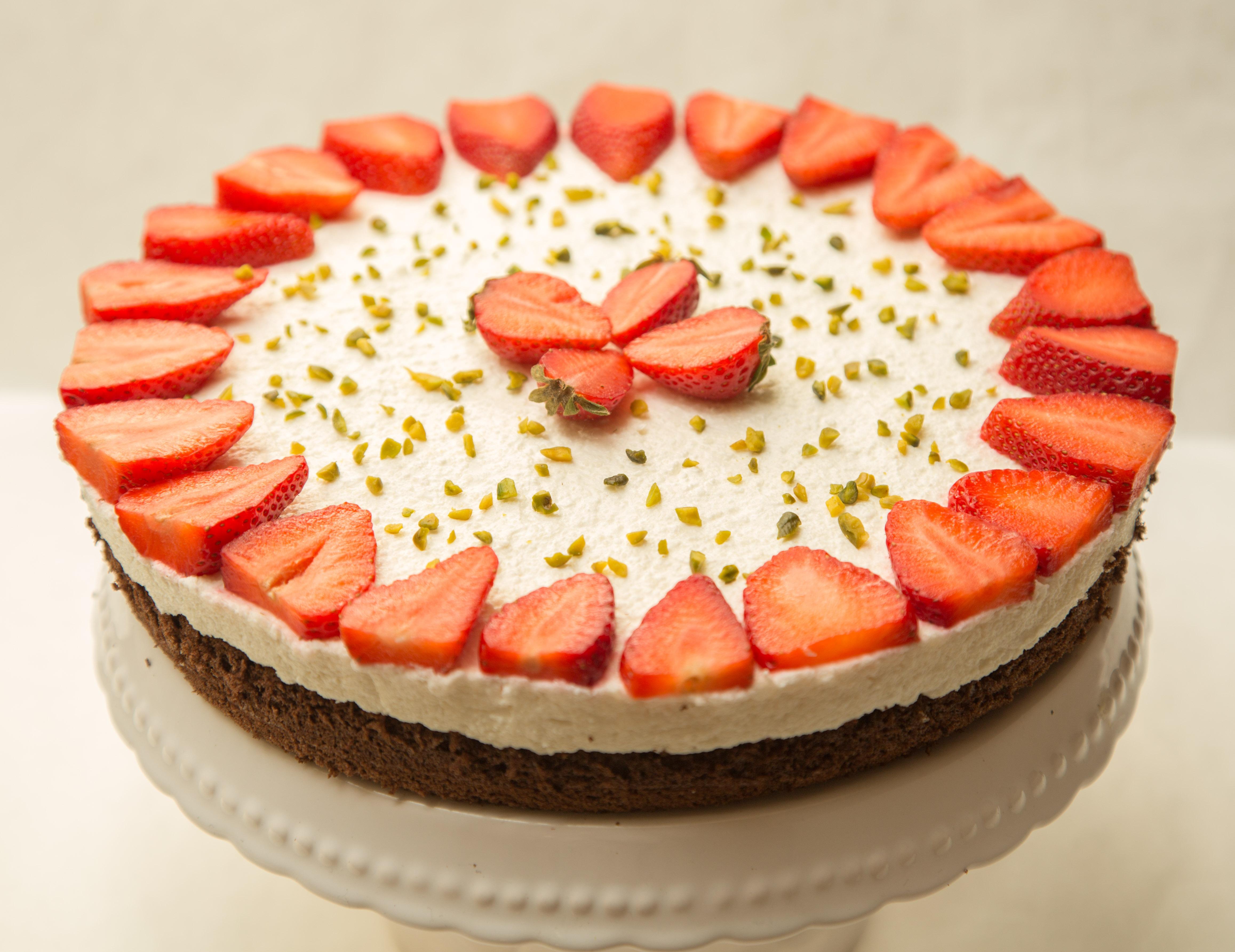 Tvarohová torta s jahodami