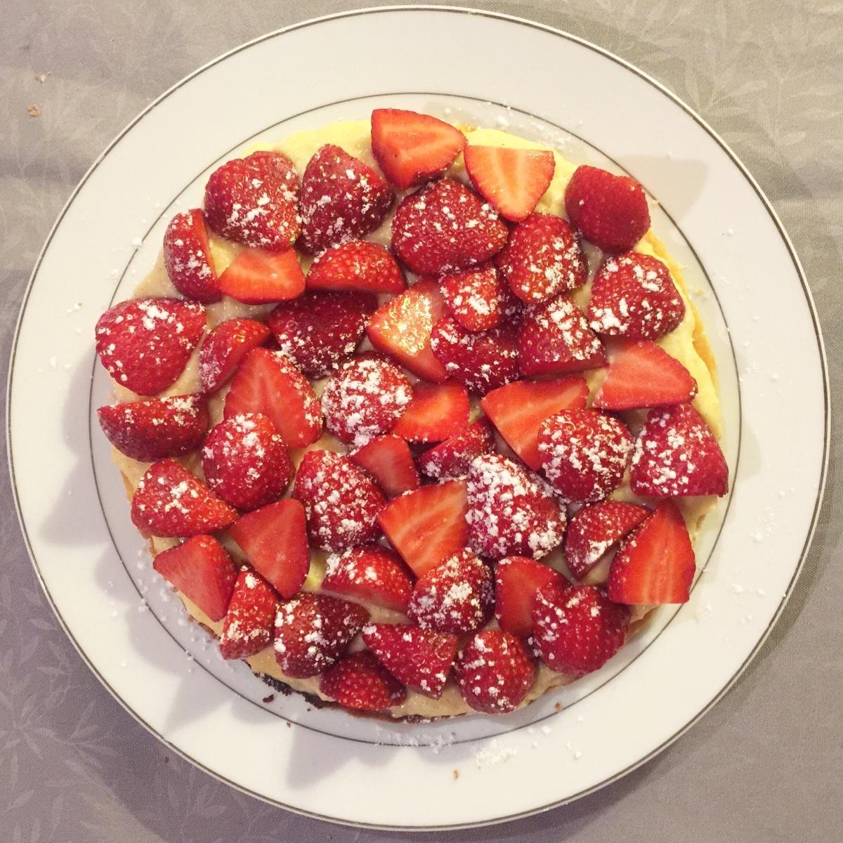 Tarte aux fraises, sablé minute et crème pâtissière