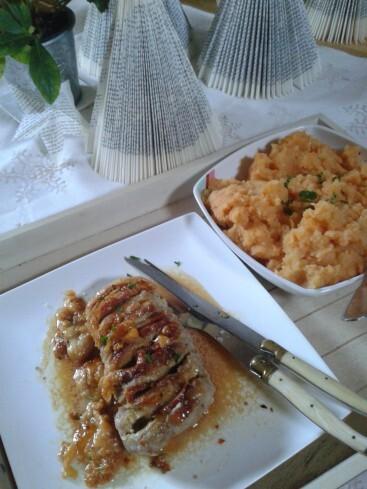 Rôti de veau au fromage et au bacon, écrasée de pommes, patate douce et céleri