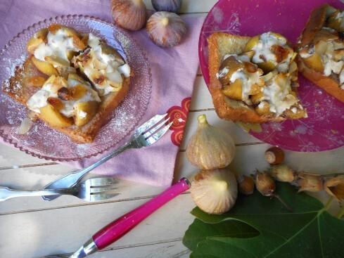 Figues rôties au mascarpone, miel et fruits d'automne