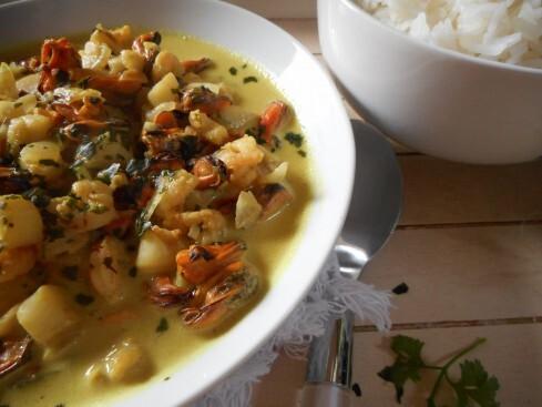 Curry de fruits de mer au lait de coco