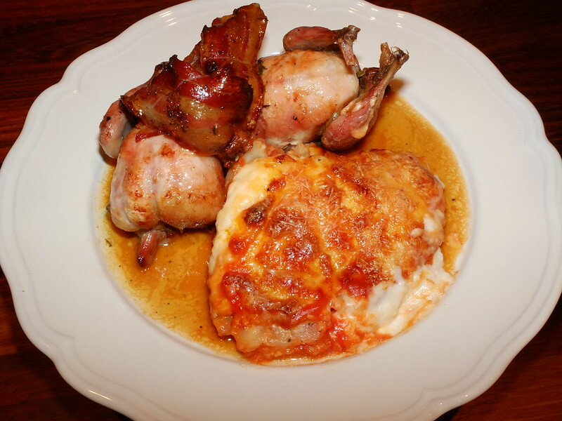 Roast quail with celeriac gratin