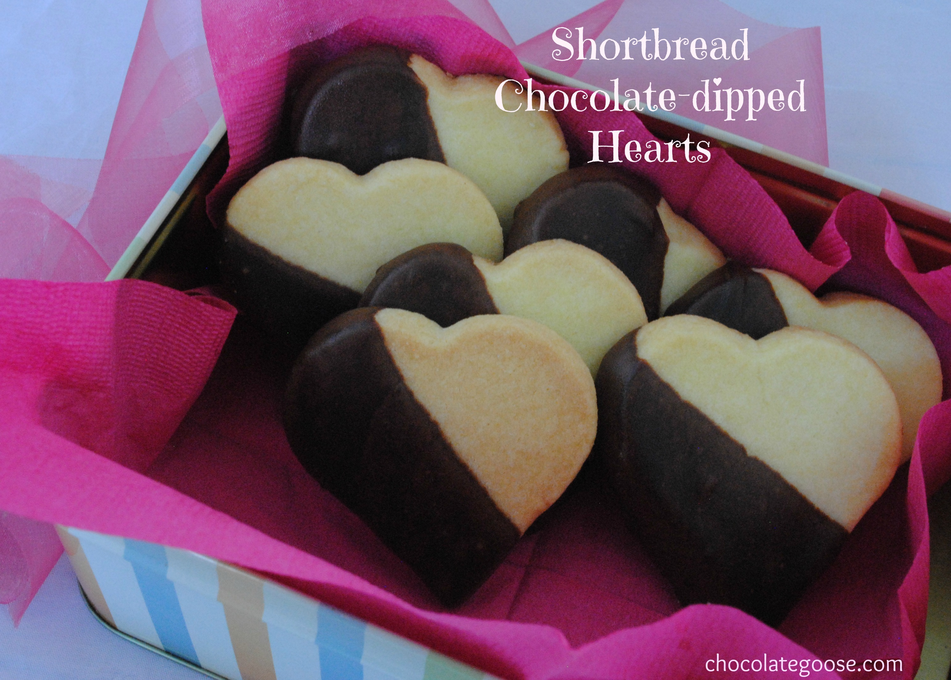 Valentine's Day Shortbread Chocolate-dipped Hearts