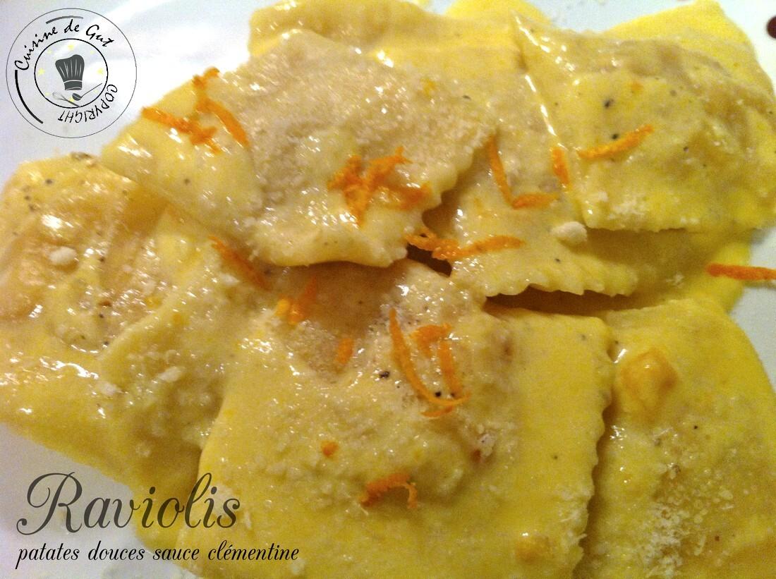 Raviolis patates douces sauce clémentine