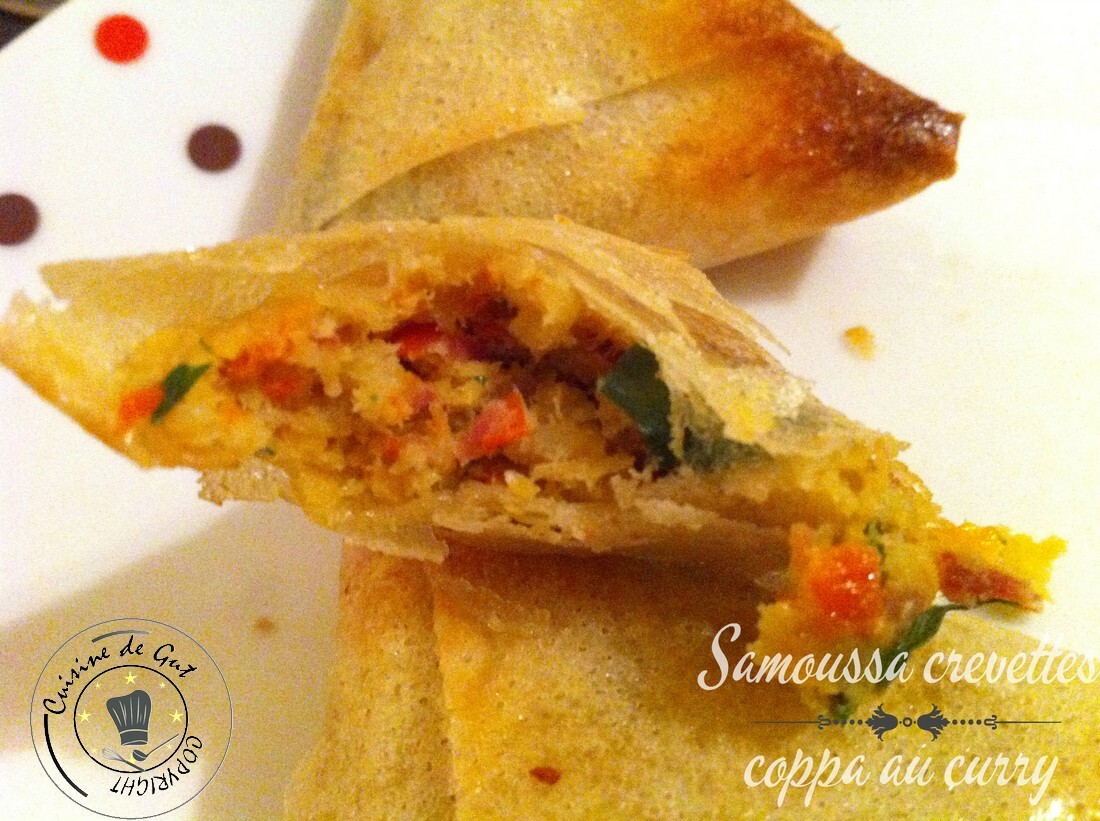 Samoussas crevettes coppa au curry