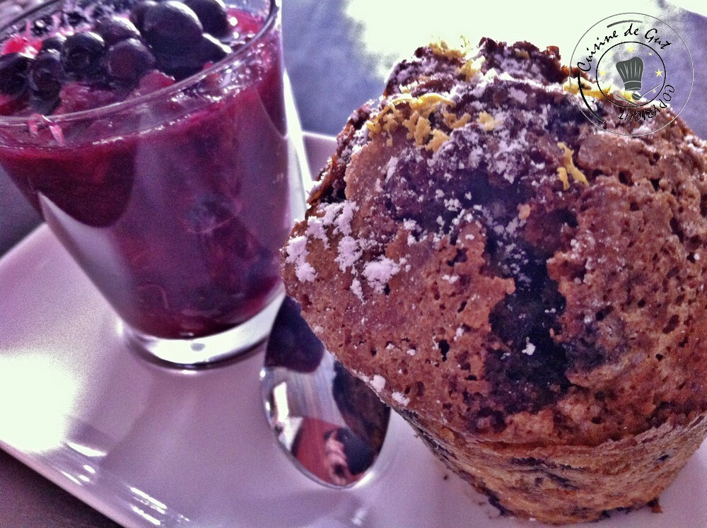Muffins aux Myrtilles …presque citron ! Compotée de rhubarbe Myrtilles
