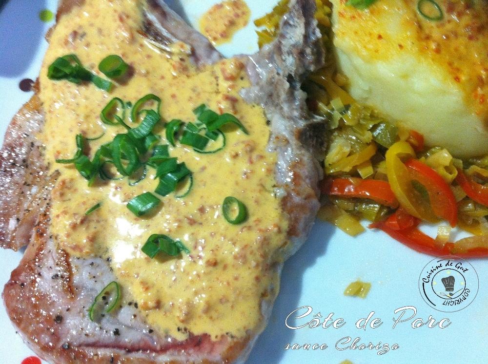 Côte de Porc sauce chorizo, fondue de légumes et purée
