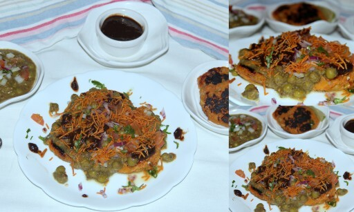 Sweet potato patties in Green peas Ragda (Indian Chaats)