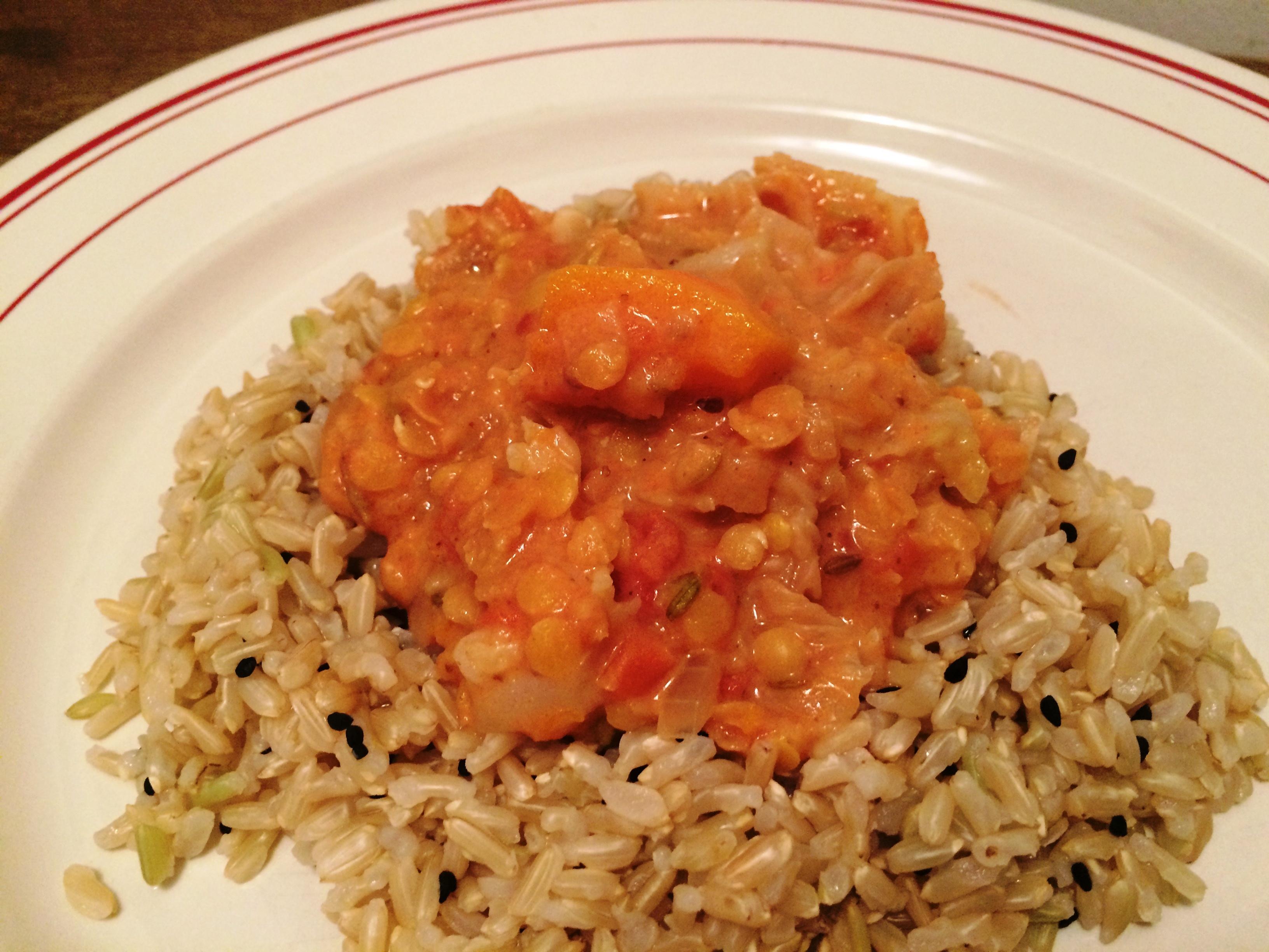 Curry de lentilles corail et au chou