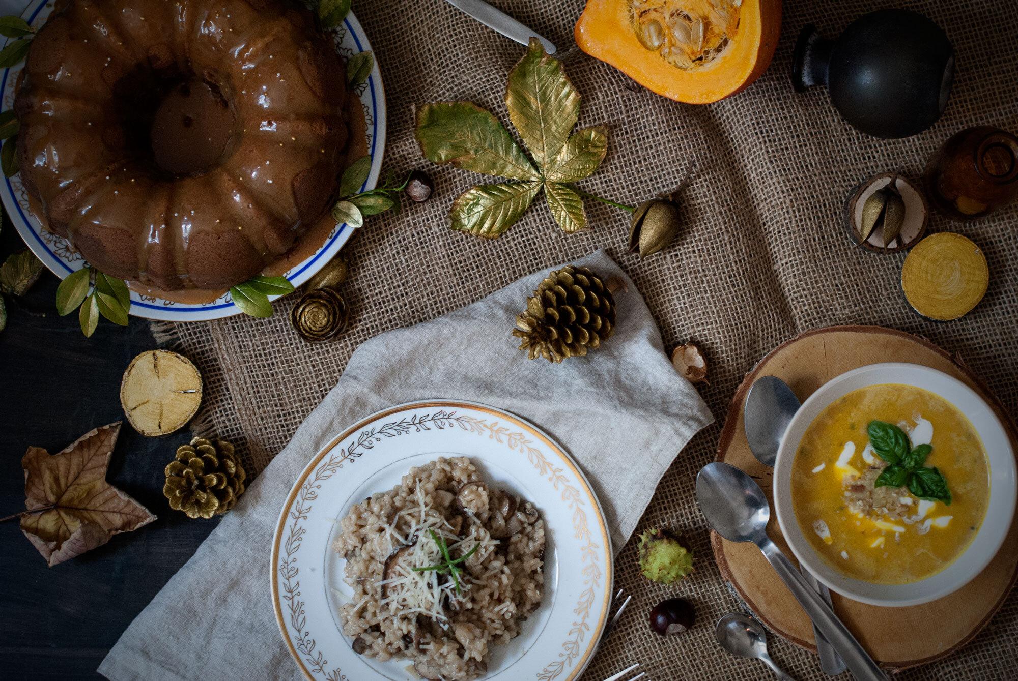 Moje ideálne jesenné menu - Hokaido polievka, rizoto z lesných hríbov a vanilkovo-kávová bábovka so slaným karamelom