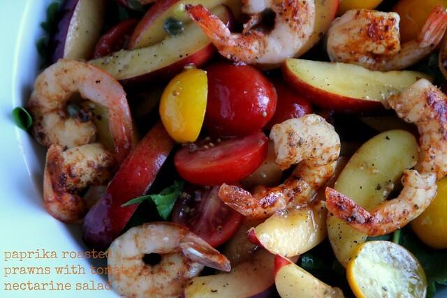 Paprika Roasted Prawns with Tomato Nectarine Salad - Salad Days # 2