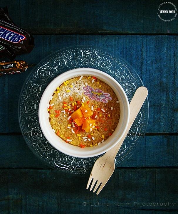 Eggless Microwave Mini Mango-Semolina Cake