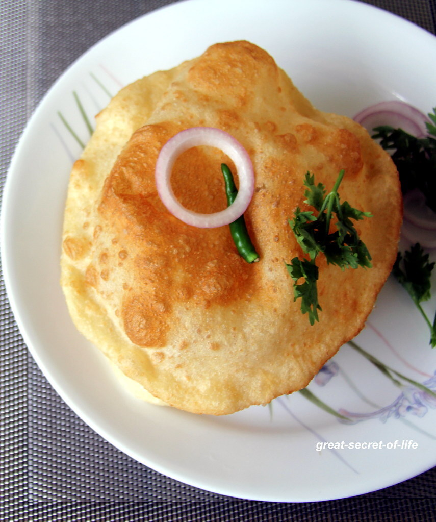 Bhatoora -  bhatura - batoora - Bhature -  Famous Indian puffed roti recipe - Puffed bread recipe