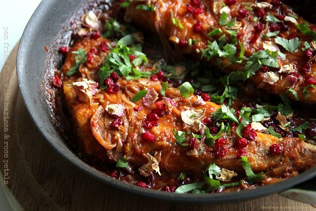 Pan Fried Fish with Harissa & Rose Petals and A Taste for the Exotic
