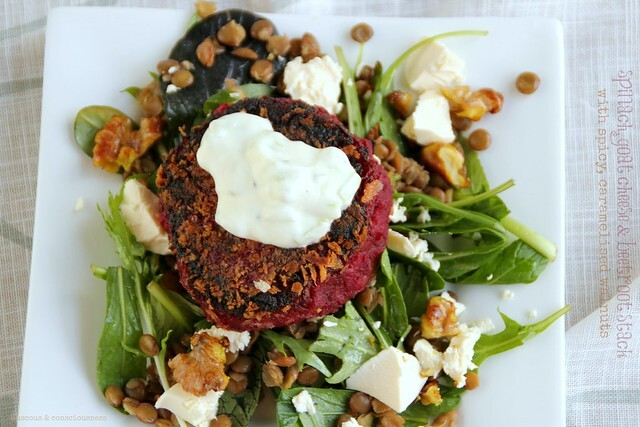 Spinach, Goat Cheese & Beetroot Stacks with Spicy, Caramelised Walnuts