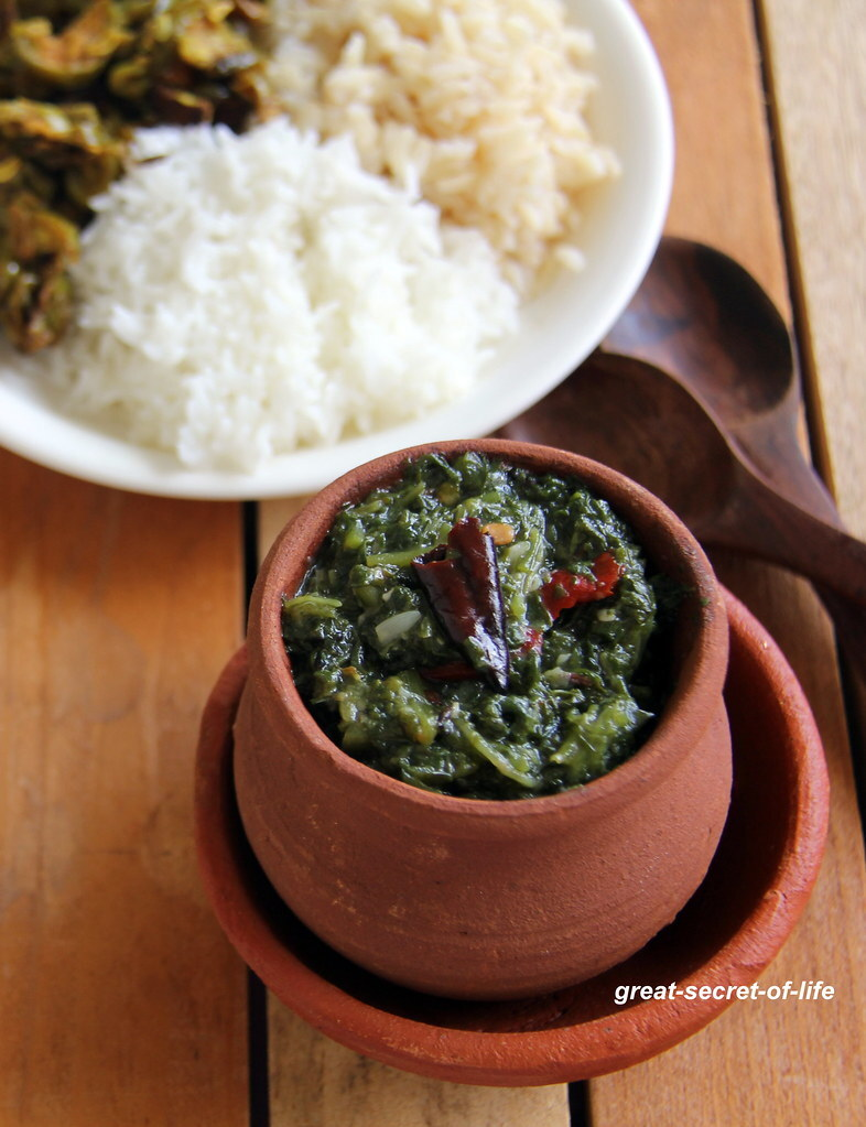 Garlicky Spinach - Keerai Masiyal - Keerai Kadiyal - Keerai for mixing with rice - Spicy keerai for Rice