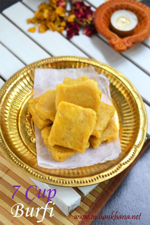 7 Cup Burfi | Seven Cup Burfi (Cake) Recipe | Easy Diwali Sweets Recipe