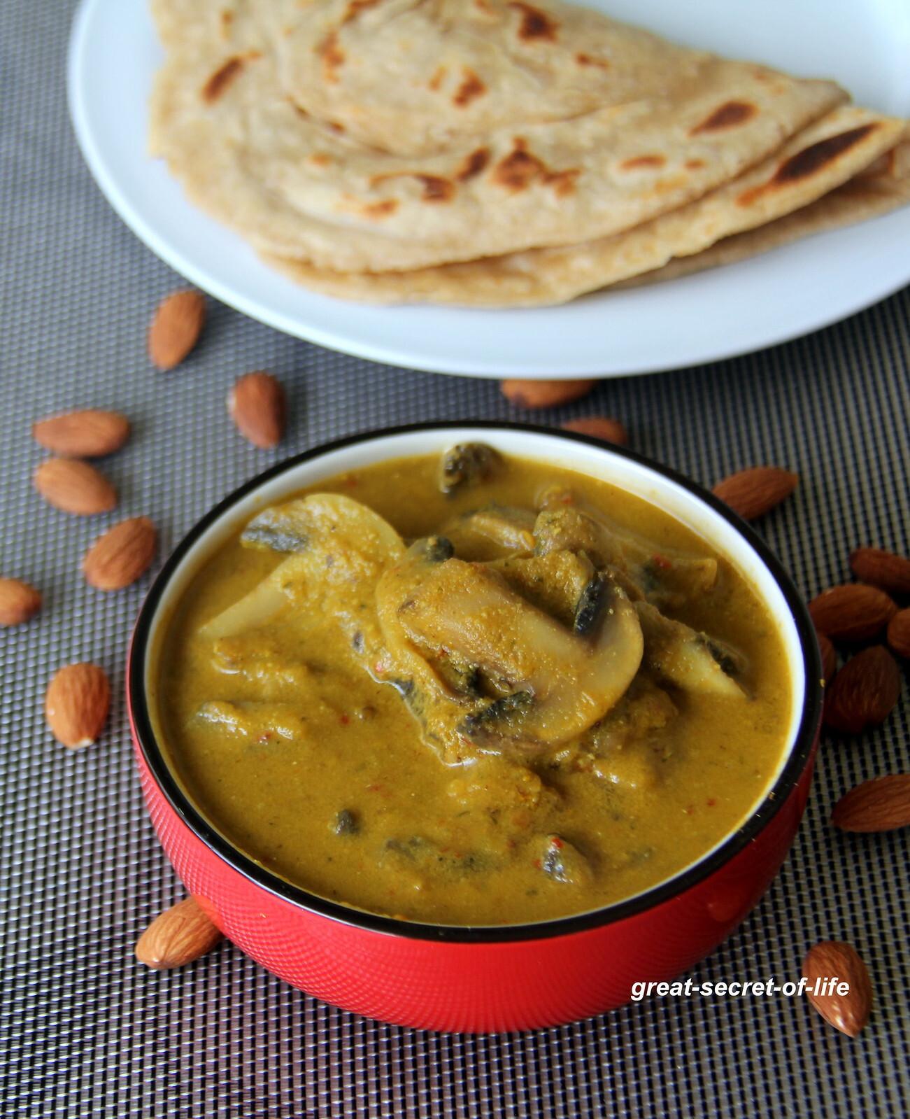 Mushroom korma in Badam gravy - Mushroom Kurma in Almond gravy - Mushroom Kuruma in Almond Gravy - Simple Mushroom recipe