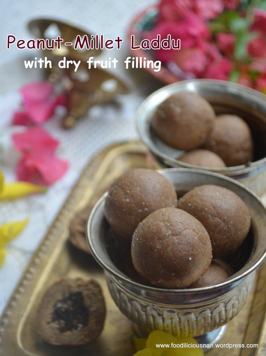 Peanut & Millet laddu with dry fruit filling – Diwali sweet (no ghee/butter)
