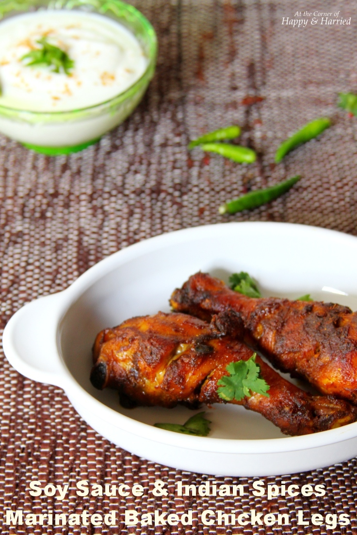 Soy Sauce And Indian Spices Marinated Baked Chicken Legs