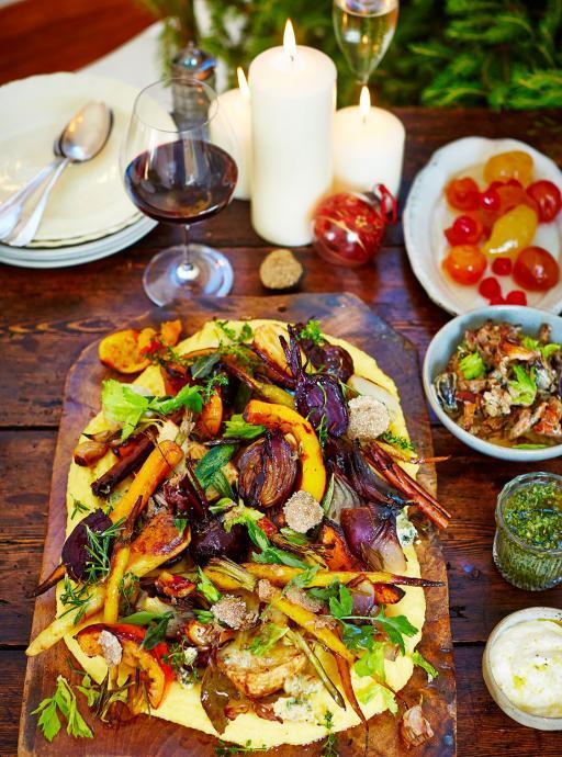Vegetais mistos assados com polenta trufada – Por Jamie Oliver