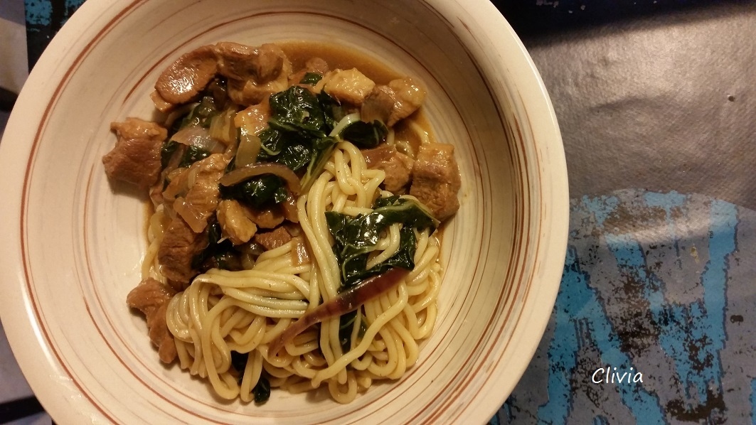 wok de nouille, canard et pak choï