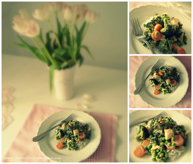 Hoje teve passeio pela minha cidade e frango com verduras ao molho bechámel ♥