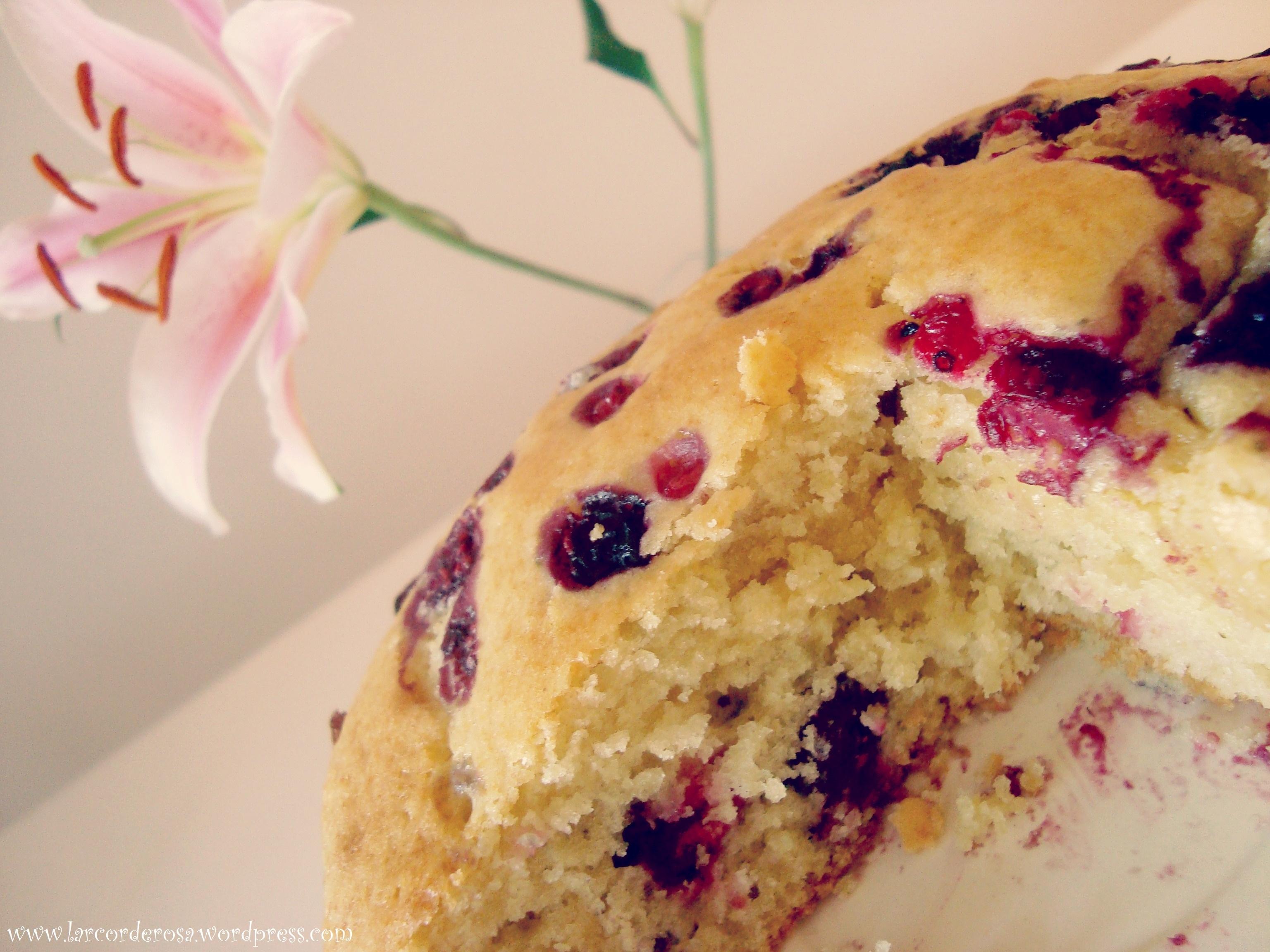 Hoje teve bolo com frutas vermelhas ♥