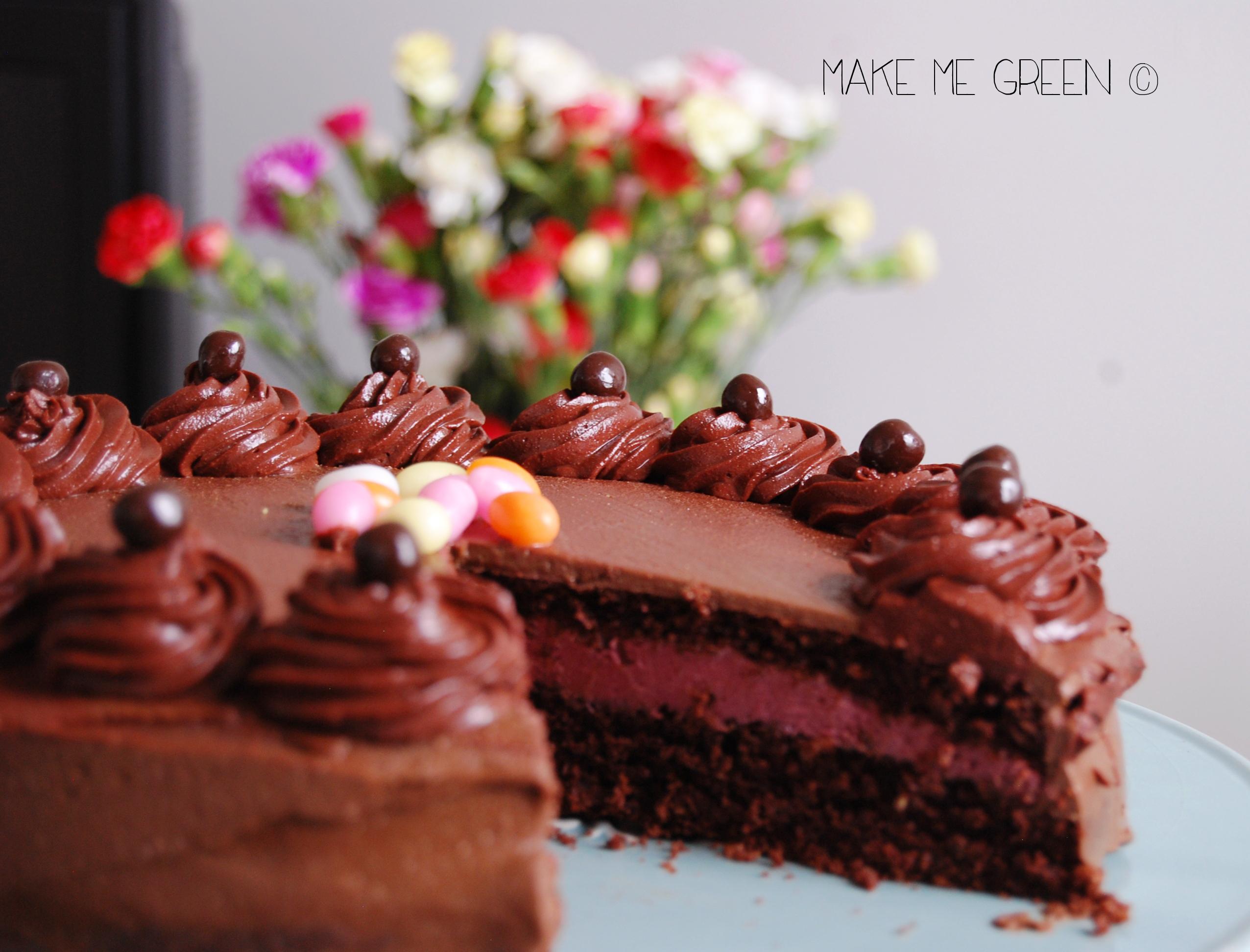 Gâteau chocolat et framboise #vegan