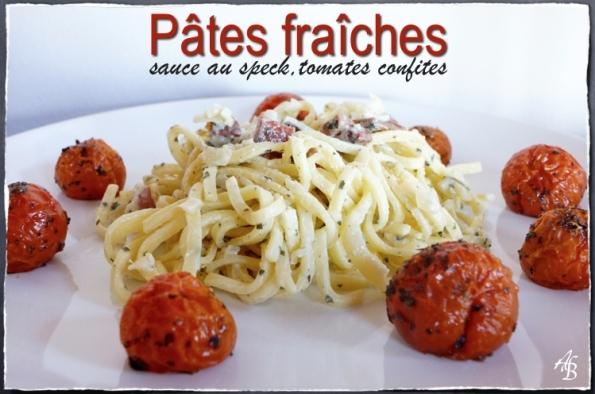 Pâtes fraîches, sauce au jambon speck, oignons et tomates confites