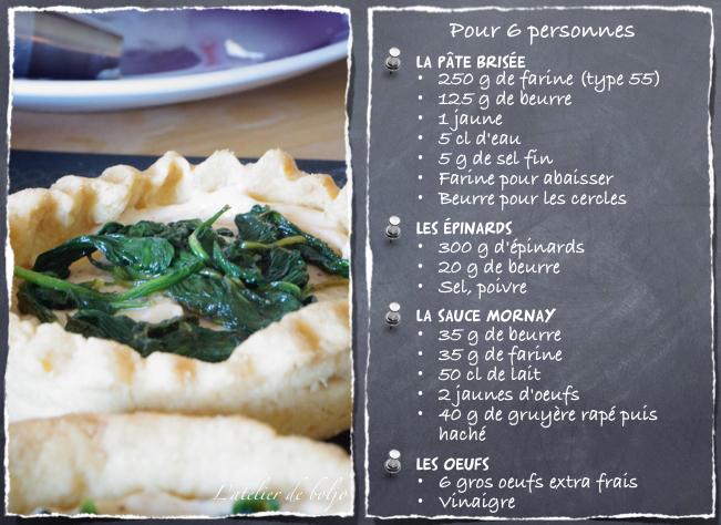 Tartelettes Florentine, oeufs mollets, épinards et sauce mornay