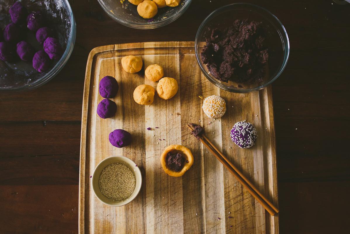 Sweet Potato Mochi Cakes, two ways