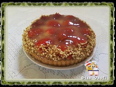 torta de morango com geleia de brilho de gelatina de morango