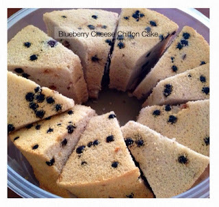蓝莓乳酪戚风 (Blueberry Cheese Chiffon Cake)