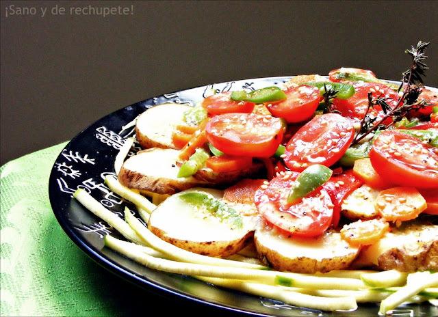 Ensalada de papas al tomillo con vinagreta de ajo