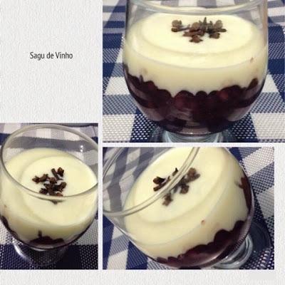 creme para comer com sagu de vinho