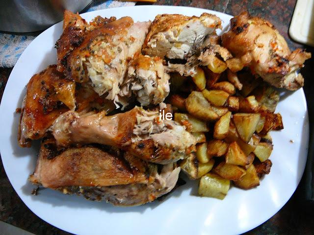 Pollo al horno trozado
