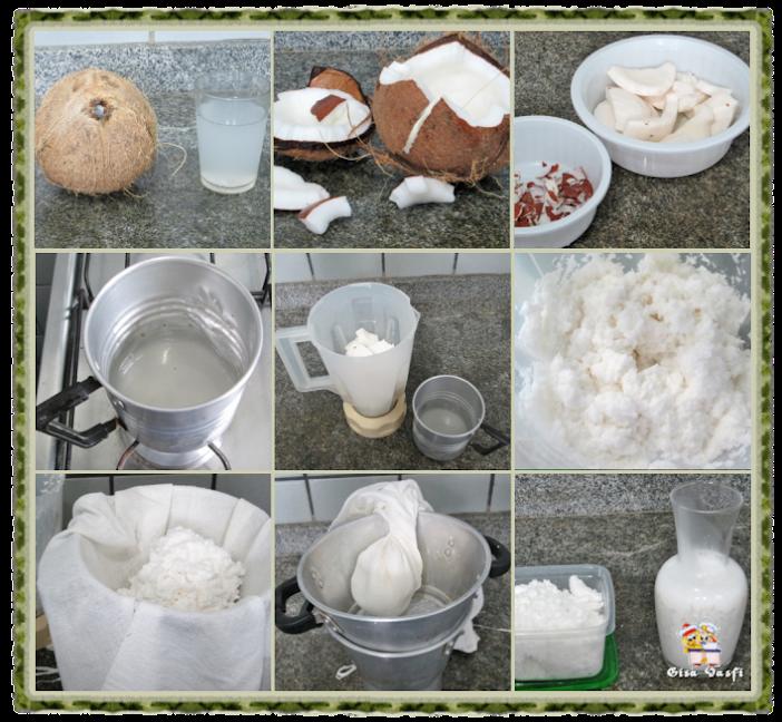 Leite, gordura e leite condensado de coco