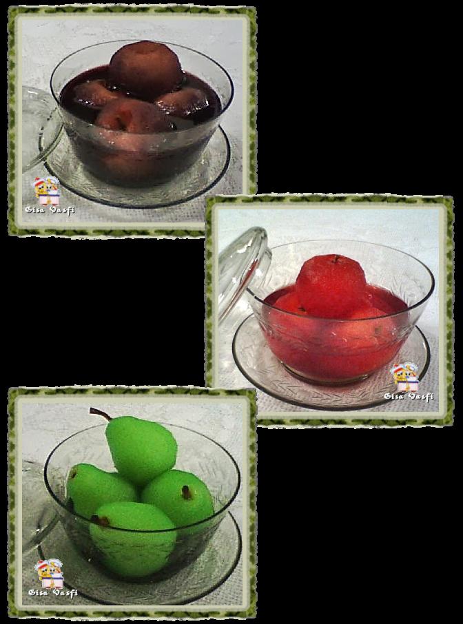Maçã e pera na gelatina, no vinho ou na groselha