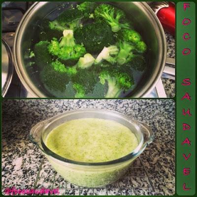 Purê de brócolis e mandioca