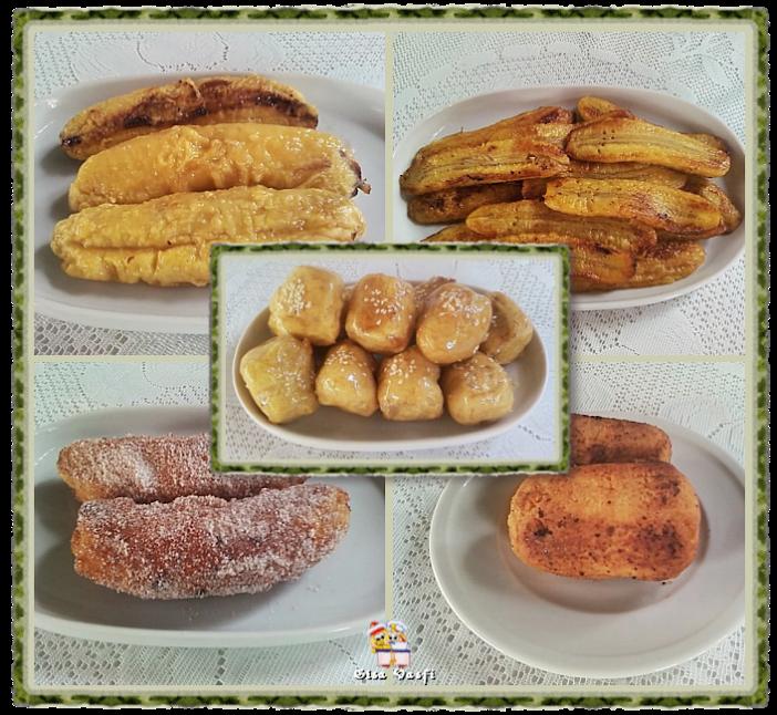 Banana assada, frita, empanada e caramelada